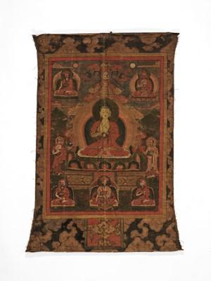 Lot 447 - A TIBETAN THANGKA DEPICTING BUDDHA SHAKYAMUNI, 19TH CENTURY