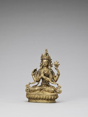 Lot 589 - A GILT BRONZE FIGURE OF AVALOKITESVARA, 20TH CENTURY