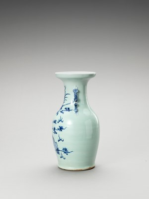 A BLUE AND WHITE CELADON-GLAZED 'QILIN AND PHOENIX' VASE, LATE QING