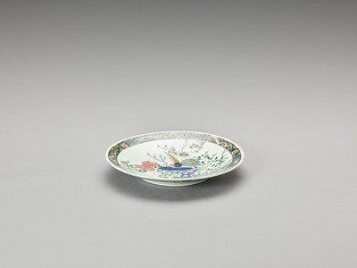 A FAMILLE VERTE PORCELAIN 'BIRDS AND FLOWERS' DISH, QING
