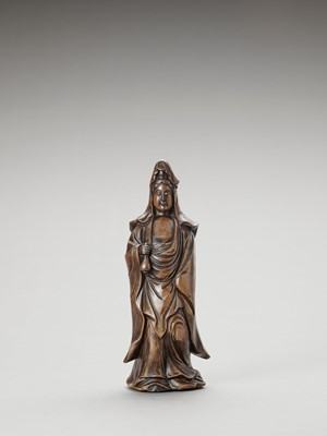 A BIZEN-WARE CERAMIC FIGURE OF KANNON