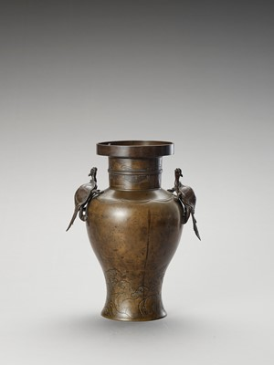 Lot 1 - A BRONZE BALUSTER VASE WITH MINOGAME AND WAVES