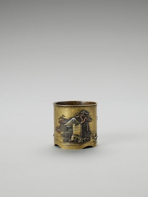 Lot 6 - A SMALL SENTOKU VESSEL WITH SILVER AND COPPER INLAYS