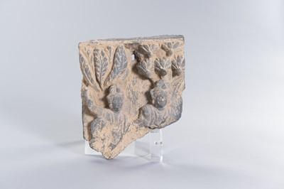A GANDHARAN GREY SCHIST FRAGMENT WITH TWO BODHISATTVAS