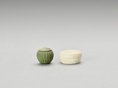 Lot 618 - TWO GLAZED POTTERY BOXES AND COVERS, SONG TO EARLY MING