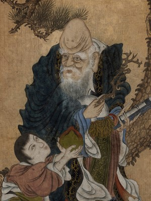 A FRAMED PAINTING OF SHOULAO, LATE QING