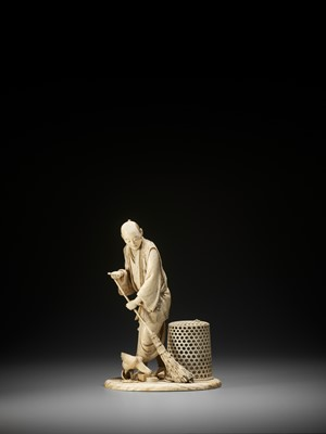 Lot 172 - TOSHIYUKI: AN IVORY OKIMONO OF A MAN SWEEPING AND FEEDING HIS CHICKENS