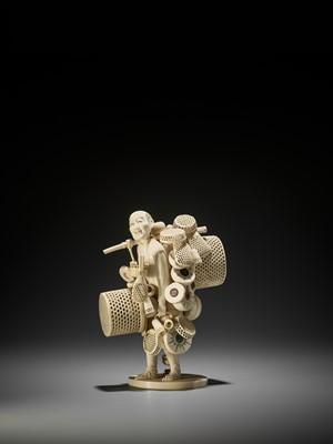 Lot 170 - JOSEKI: AN IVORY OKIMONO OF A BASKET VENDOR