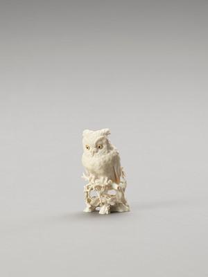 Lot 118 - RYUSAI: AN INTRICATELY CARVED IVORY OKIMONO OF AN OWL