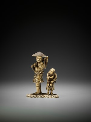 Lot 243 - SHODAI: AN IVORY OKIMONO OF A FARMER WITH CHLD