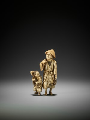 Lot 169 - AN IVORY OKIMONO OF A BAMBOO FARMER WITH CHILD