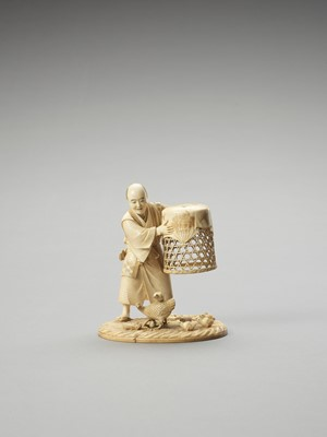 Lot 130 - MUNEHIRO: AN IVORY OKIMONO OF A MAN WITH CHICKENS