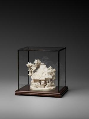 Lot 155 - SANEMASA: A FINE IVORY OKIMONO OF A RICE MILL WITH WORKERS