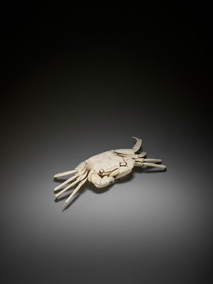 Lot 145 - A RARE ARTICULATED IVORY OKIMONO OF A CRAB