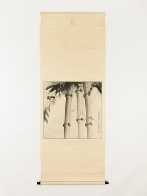 A HANGING SCROLL PAINTING OF A SPARROW AND BAMBOO, 20TH CENTURY