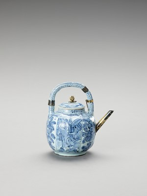Lot 1086 - A SILVER-MOUNTED BLUE AND WHITE PORCELAIN TEAPOT