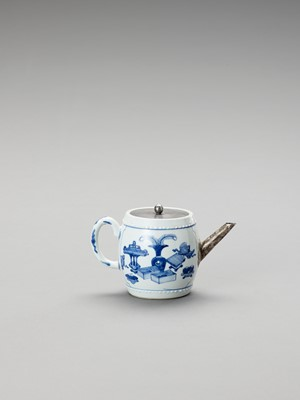 Lot 1105 - A SILVER-MOUNTED BLUE AND WHITE PORCELAIN TEAPOT
