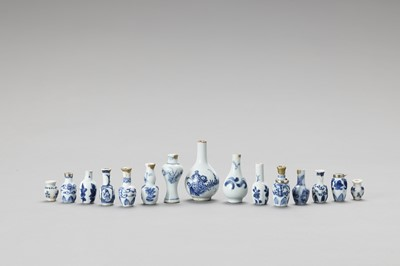 Lot 1095 - FIFTEEN MINIATURE BLUE AND WHITE PORCELAIN BOTTLE VASES