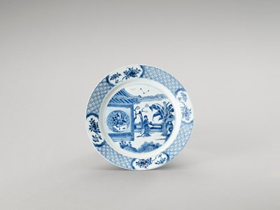 Lot 1107 - A BLUE AND WHITE PORCELAIN DISH