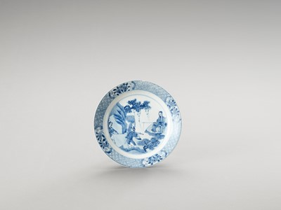 Lot 1108 - A BLUE AND WHITE PORCELAIN DISH