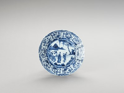 Lot 336 - A LOBED BLUE AND WHITE PORCELAIN DISH