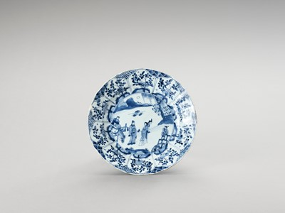 Lot 1109 - A LOBED BLUE AND WHITE PORCELAIN DISH