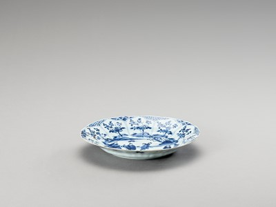 Lot 339 - A LOBED BLUE AND WHITE PORCELAIN DISH