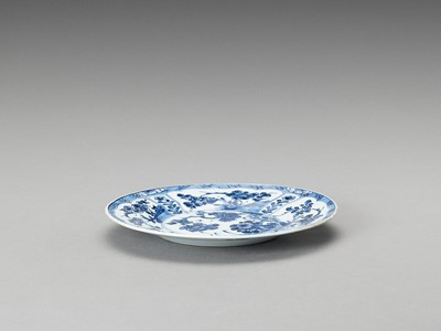 Lot 340 - A 'FLORAL' BLUE AND WHITE PORCELAIN DISH