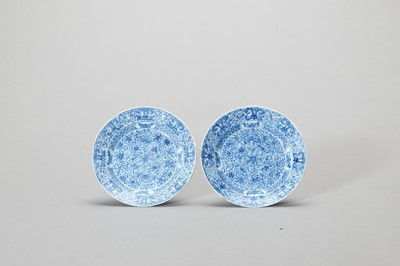 Lot 1116 - A PAIR OF 'FLORAL SCROLL' BLUE AND WHITE PORCELAIN DISHES