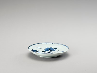 Lot 1024 - A BLUE AND WHITE 'FLORAL' PORCELAIN DISH