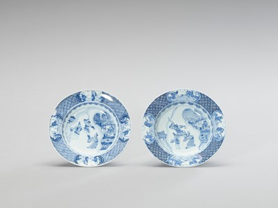 Lot 1017 - A PAIR OF BLUE AND WHITE PORCELAIN DISHES