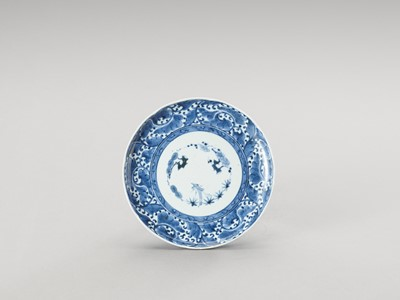 A BLUE AND WHITE ARITA PORCELAIN 'FLORAL' DISH