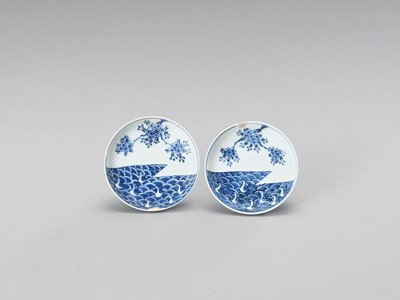 Lot 167 - A SMALL PAIR OF BLUE AND WHITE PORCELAIN DISHES