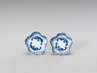 Lot 174 - A SMALL PAIR OF LOBED BLUE AND WHITE PORCELAIN DISHES