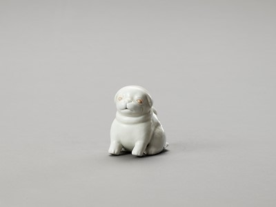 Lot 1077 - A WHITE HIRADO PORCELAIN FIGURE OF A PUPPY