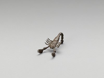 Lot 11 - AN ARTICULATED BRONZE OKIMONO OF A SCORPION