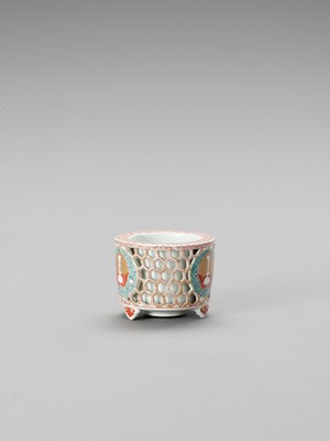 Lot 1035 - A RETICULATED IMARI PORCELAIN CENSER
