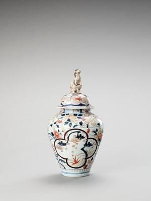 Lot 1062 - A LARGE IMARI PORCELAIN VASE AND COVER