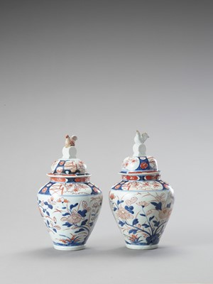Lot 124 - A PAIR OF IMARI PORCELAIN VASES AND COVERS