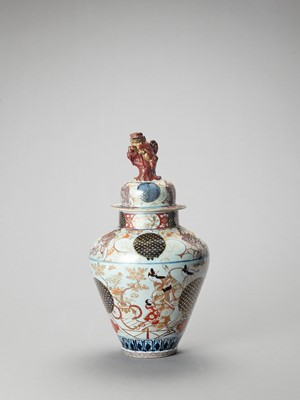 Lot 1060 - A LARGE IMARI PORCELAIN BALUSTER VASE AND COVER