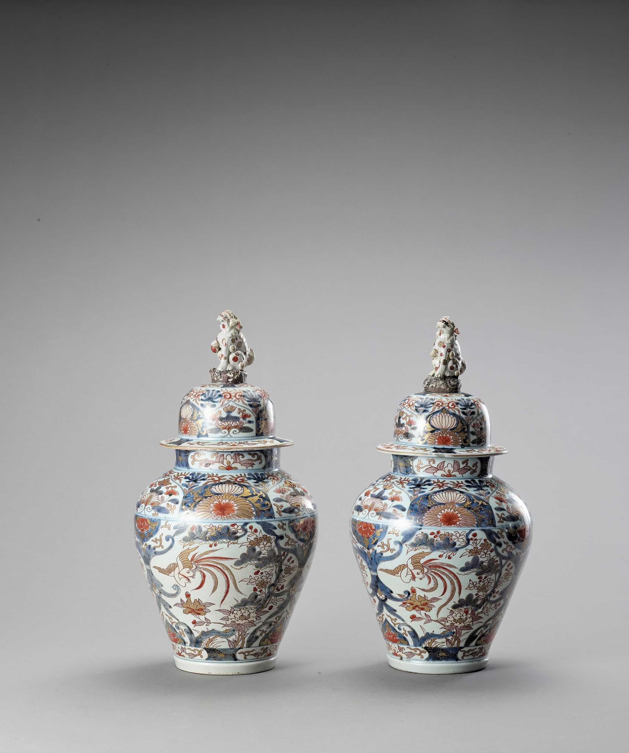 Lot 1061 - A LARGE PAIR OF IMARI PORCELAIN VASES AND COVERS