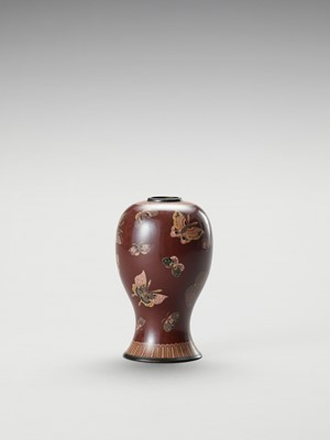 Lot 18 - A CLOISONNE ENAMEL VASE WITH BUTTERFLIES
