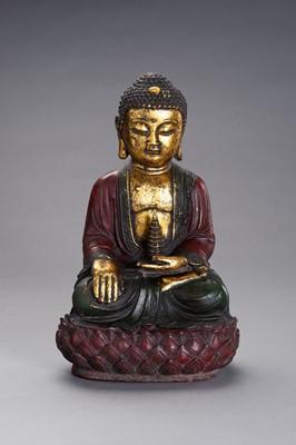 Lot 63 - A MING STLYE BRONZE FIGURE OF BUDDHA