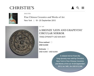 Lot 527 - A BRONZE 'LION AND GRAPEVINE' MIRROR, FIVE DYNASTIES