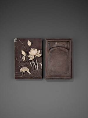 Lot 30 - A DUAN 'CRANE AND LOTUS' INKSTONE AND COVER, QING
