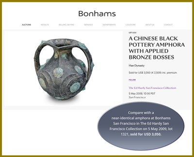 Lot 138 - A BLACK POTTERY AMPHORA WITH APPLIED BRONZE BOSSES, HAN DYNASTY