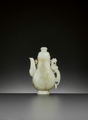 Lot 101 - A PALE CELADON JADE 'PHOENIX' EWER AND COVER, QING DYNASTY