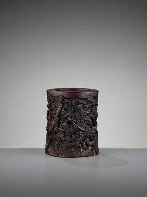 Lot 538 - AN OPENWORK AND RETICULATED ZITAN BRUSHPOT, BITONG, QING DYNASTY