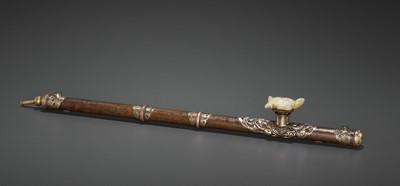 Lot 26 - AN INSCRIBED BRONZE OPIUM PIPE WITH SILVER AND COPPER FITTINGS, LATE QING TO REPUBLIC