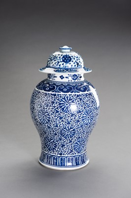 Lot 391 - A BLUE AND WHITE PORCELAIN BALUSTER VASE AND COVER
